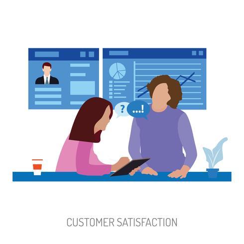 Gestion de la satisfaction client Illustration conceptuelle Conception vecteur