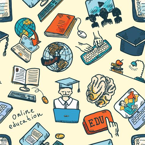 Modèle sans couture d'éducation en ligne vecteur