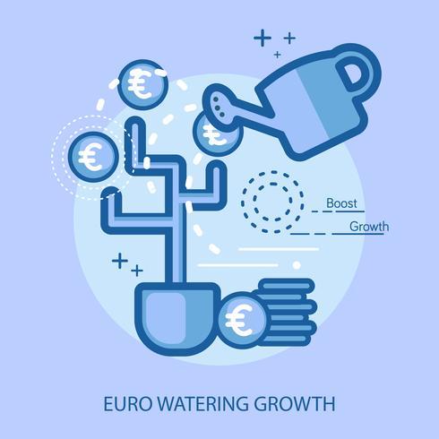 Croissance de l'arrosage en Euro Illustration conceptuelle Conception vecteur