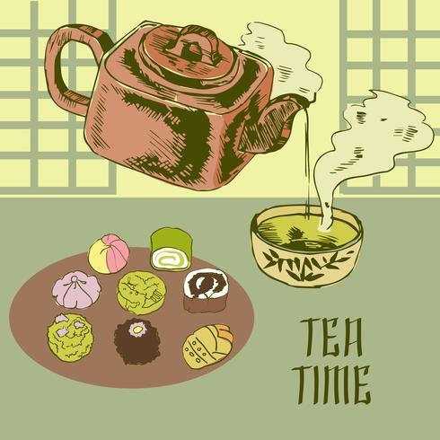 Théière japonaise et tasse vecteur