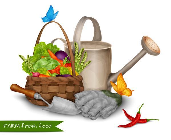 Concept de nourriture fraîche à la ferme vecteur