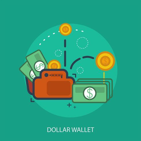 conception illustration conceptuelle de portefeuille dollar vecteur