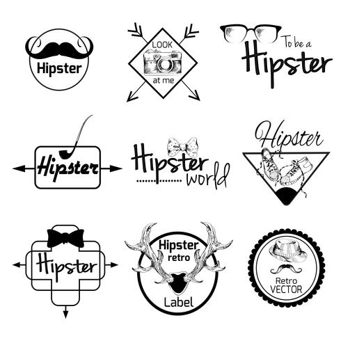 Ensemble d'étiquettes hipster vecteur