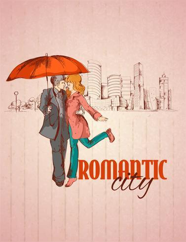 Affiche de la ville romantique vecteur