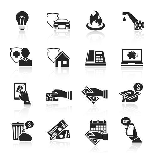 Payer la facture d'icônes noires vecteur