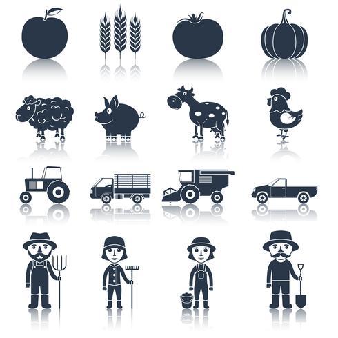 Icônes de ferme définies en noir vecteur