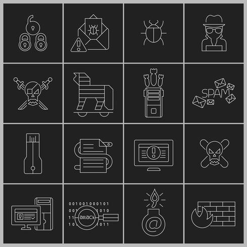 Hacker icons set contour vecteur