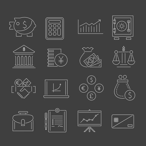 Icônes de finances définies contour vecteur