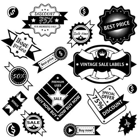 Etiquettes de vente noir vecteur