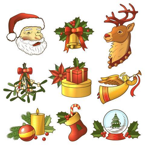 Jeu de couleurs d'icônes de Noël vecteur