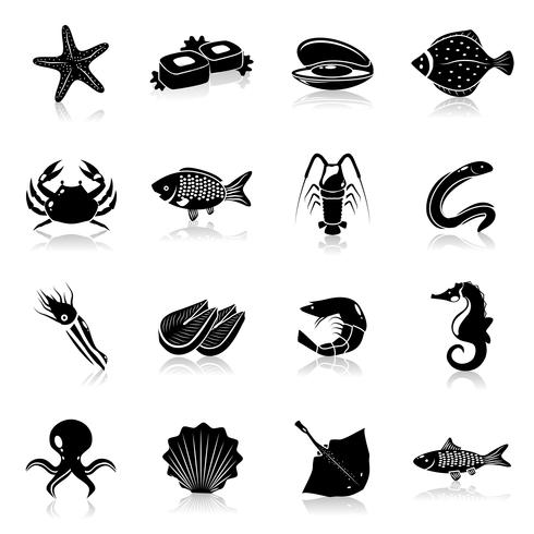Fruits de mer Icons Set Black vecteur