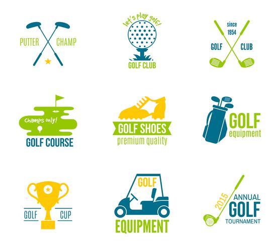 Jeu d'étiquettes de golf vecteur