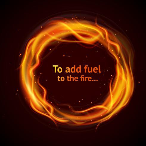 Fond de cercle de flamme vecteur