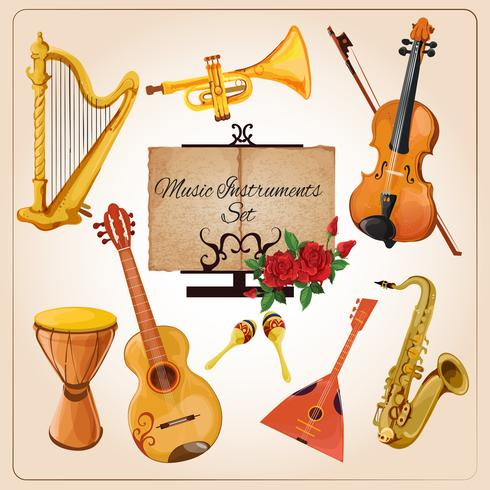 Instruments de musique en couleur vecteur