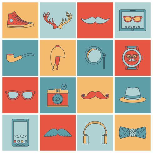 Ligne plate d'icônes de hipster vecteur