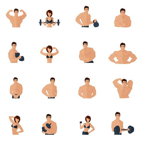 musculation fitness gym icons flat vecteur