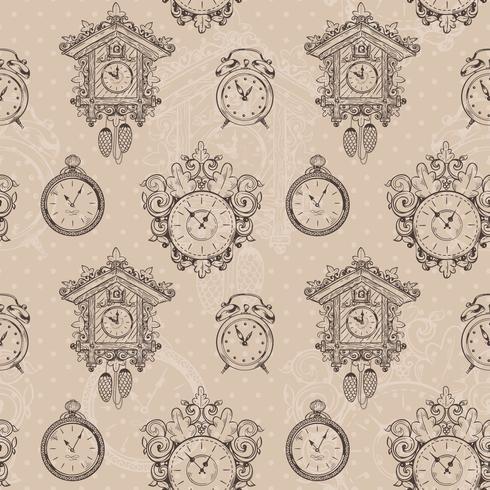 Vieux modèle sans couture d'horloge vintage vecteur