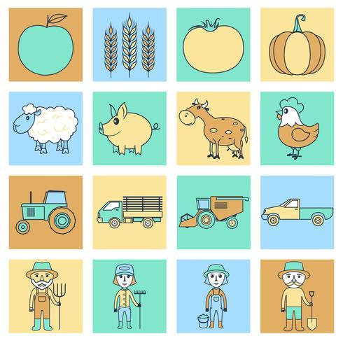 Ligne plate d'icônes de ferme vecteur