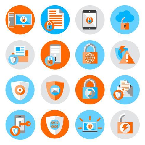 Icônes de sécurité de protection des données vecteur