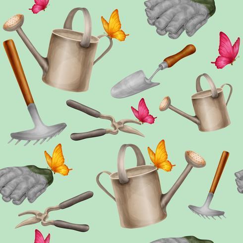 Modèle sans couture d'outils de jardin vecteur