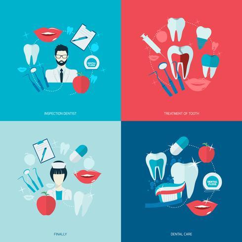 Icônes de dents plates vecteur