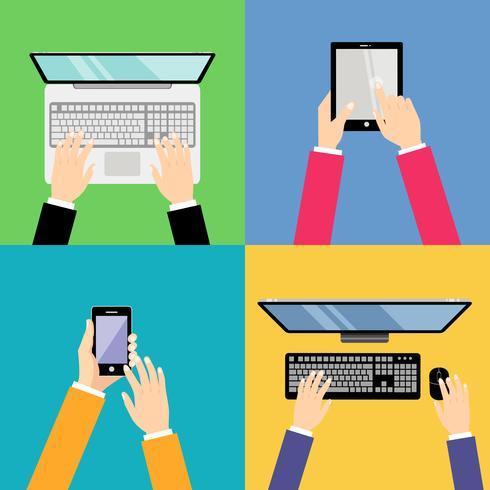 Mains d'affaires avec des gadgets vecteur