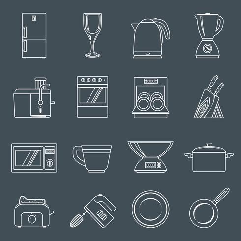 Contour d'icônes appareils de cuisine vecteur