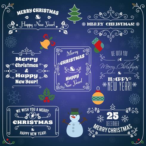 Jeu d'étiquettes typographiques de Noël vecteur