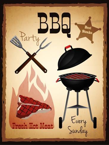 Affiche de menu barbecue vecteur