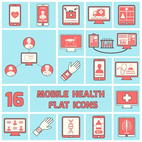Icônes de santé mobiles mis ligne plate vecteur