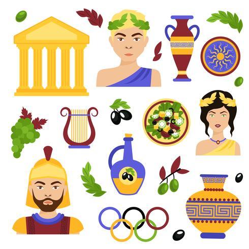 Ensemble décoratif Grèce vecteur
