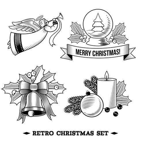 Ensemble d'icônes de Noël noir et blanc vecteur