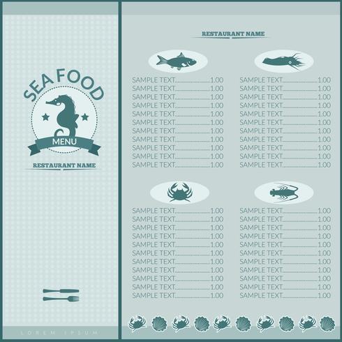 Menu de restaurant de fruits de mer vecteur