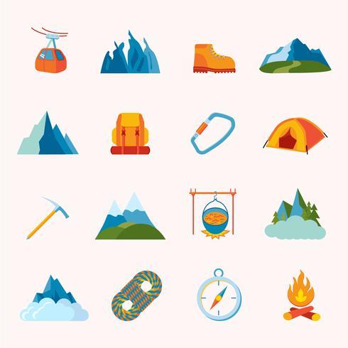 Icônes de montagne plates vecteur