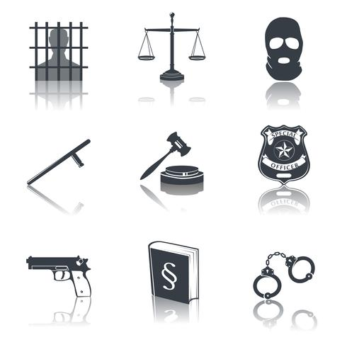Droit et justice icônes noires vecteur