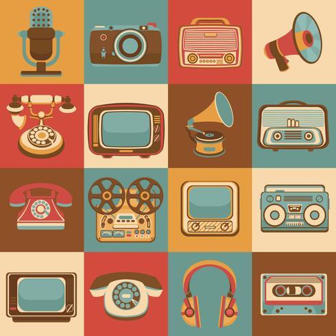 Icônes de médias rétro vecteur