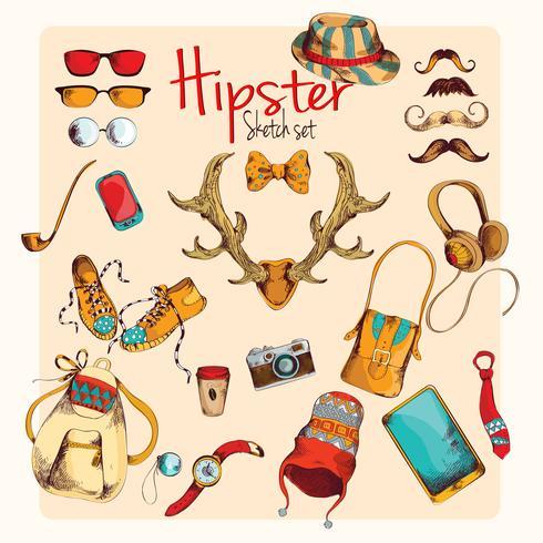 Ensemble de croquis de hipster vecteur