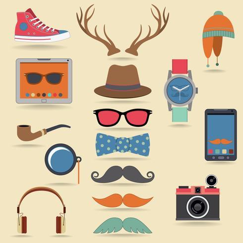 Ensemble d'éléments hipster vecteur