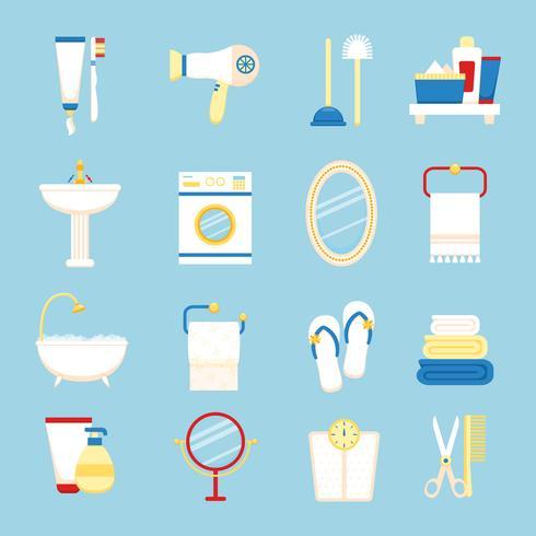 Jeu d'icônes de salle de bain vecteur