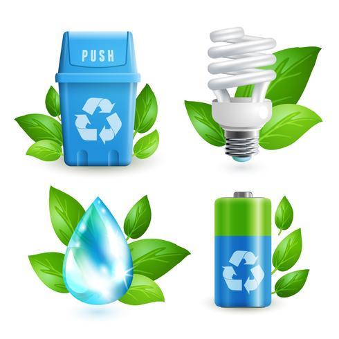 Jeu d'icônes écologie et déchets vecteur