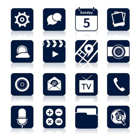 Icônes d'applications mobiles noires vecteur
