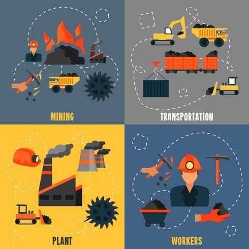 Ensemble plat de l'industrie du charbon vecteur