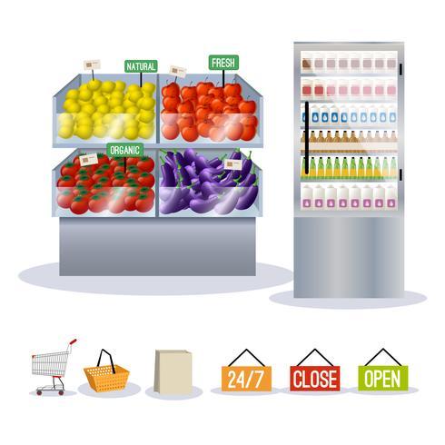 Supermarché fruits et légumes vecteur