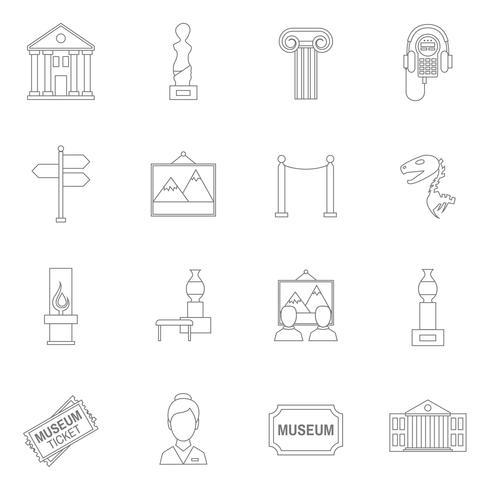 Contour d'icônes de musée vecteur