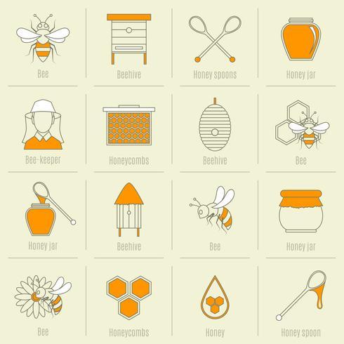 Abeille miel icônes ligne plate définie vecteur