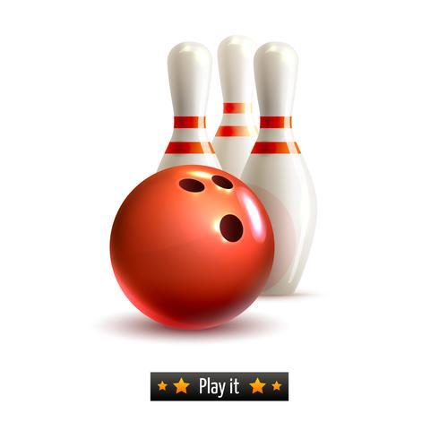 Jeu isolé de bowling vecteur