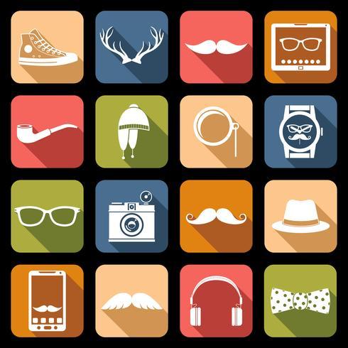 icônes de hipster plat vecteur