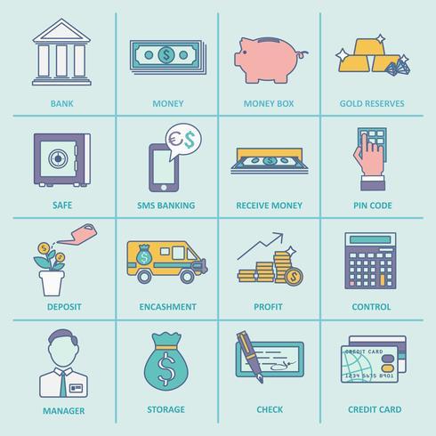 Ligne plate d'icônes de services bancaires vecteur