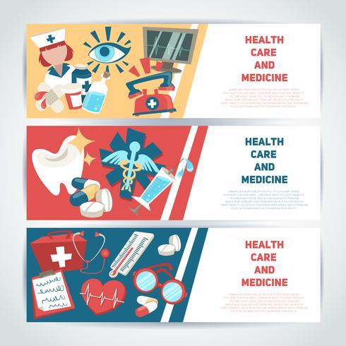 Bannières horizontales médicales vecteur