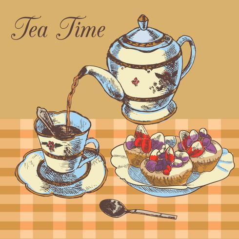 Théière et tasse thé anglais vecteur